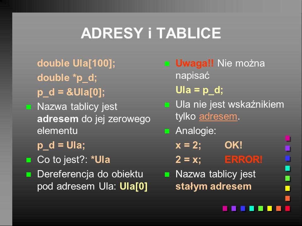 ADRESY i TABLICE double Ula[100]; double *p_d; p_d = &Ula[0];